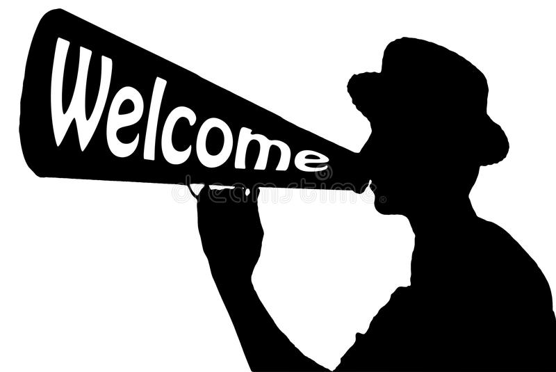 Hello Welcome Celebration Announcer with Megaphone royalty free stock photography