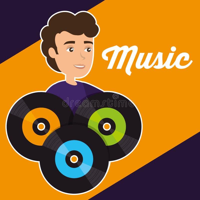 Man with vinyl disks. Vector illustration design vector illustration