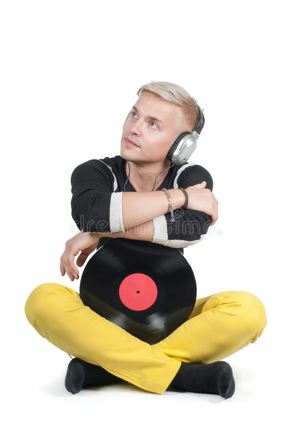 Man with vinyl record royalty free stock photos
