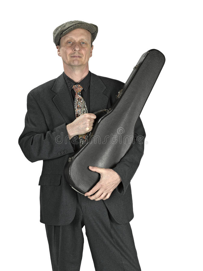 Man with violin case stock images