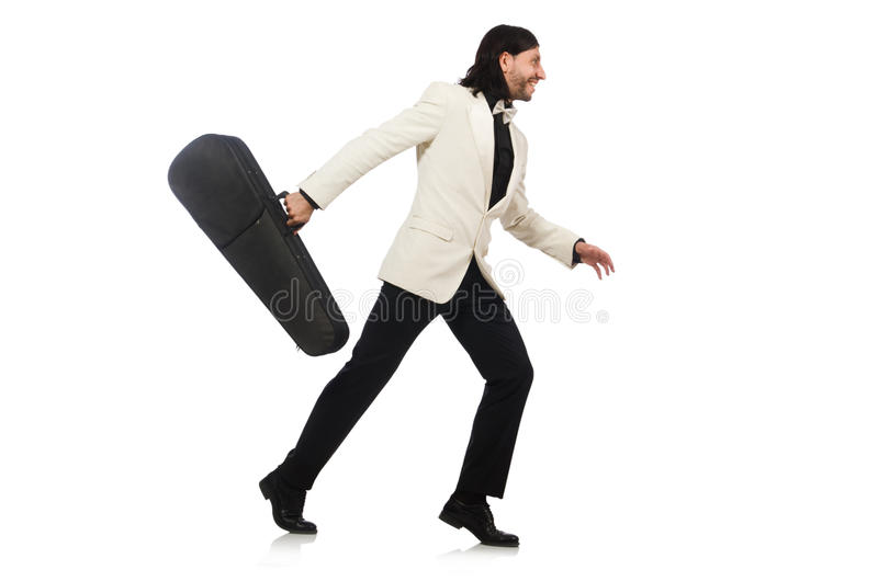 The man with violin case on whtie stock images