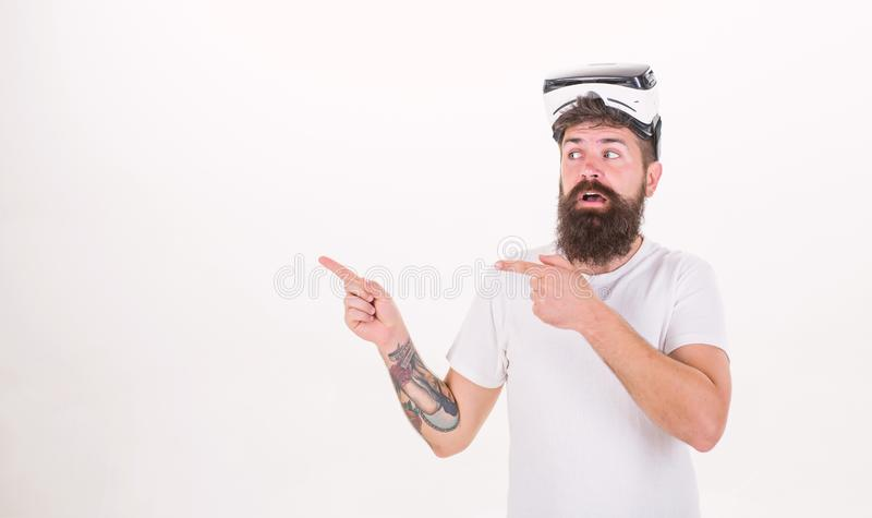 Man with virtual reality headset. Person with virtual reality helmet isolated on white background. Virtual reality royalty free stock photography