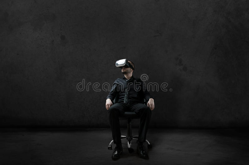 Man with Virtual Reality headset stock images