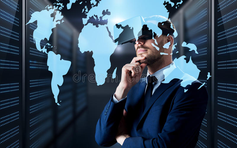 Man in virtual reality headset with world map stock photo image of download man in virtual reality headset with world map stock photo image of networking gumiabroncs Choice Image