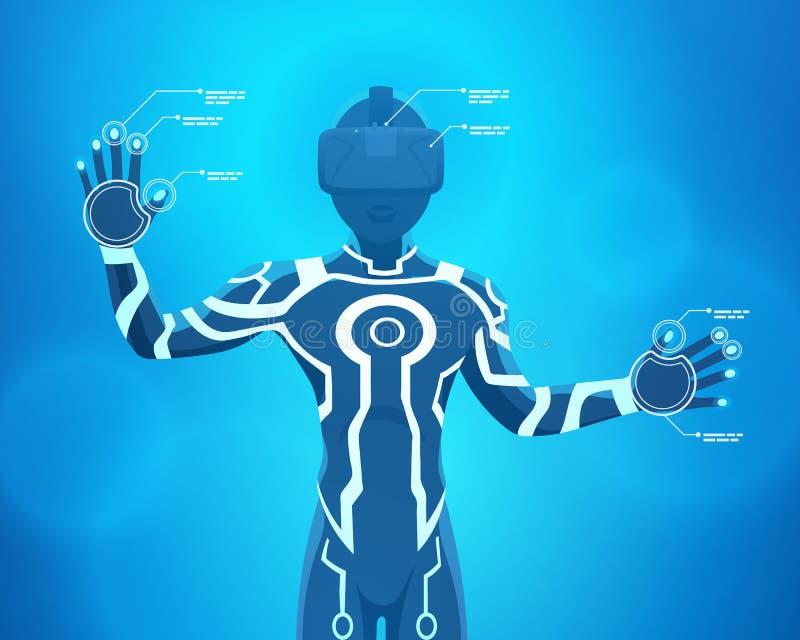 Man in a virtual reality helmet royalty free illustration