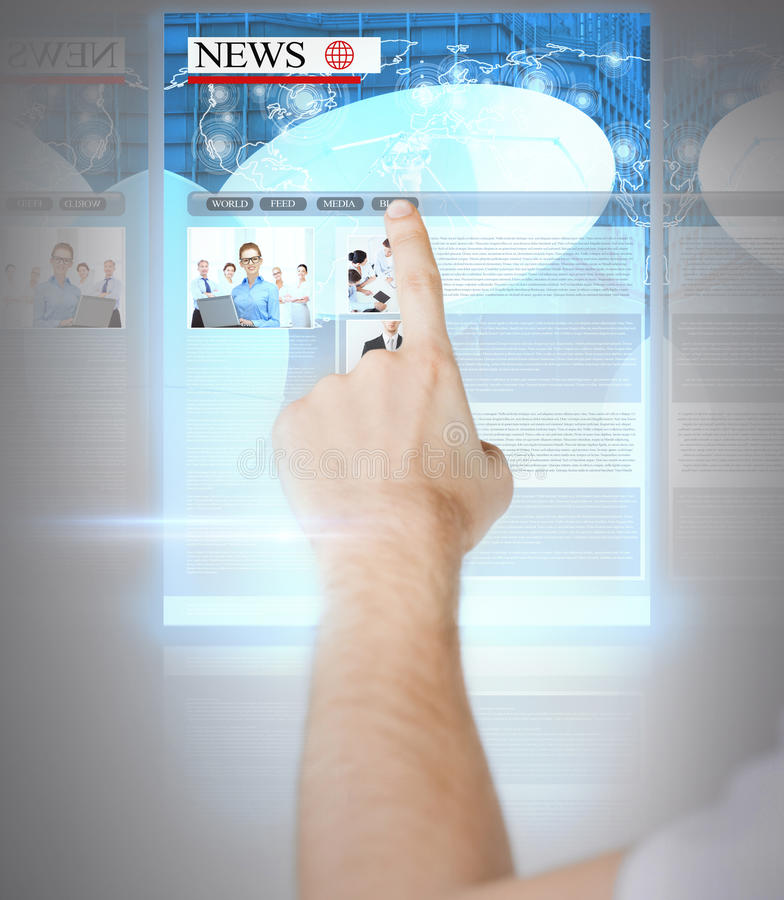 Man with virtual screen and news royalty free stock image