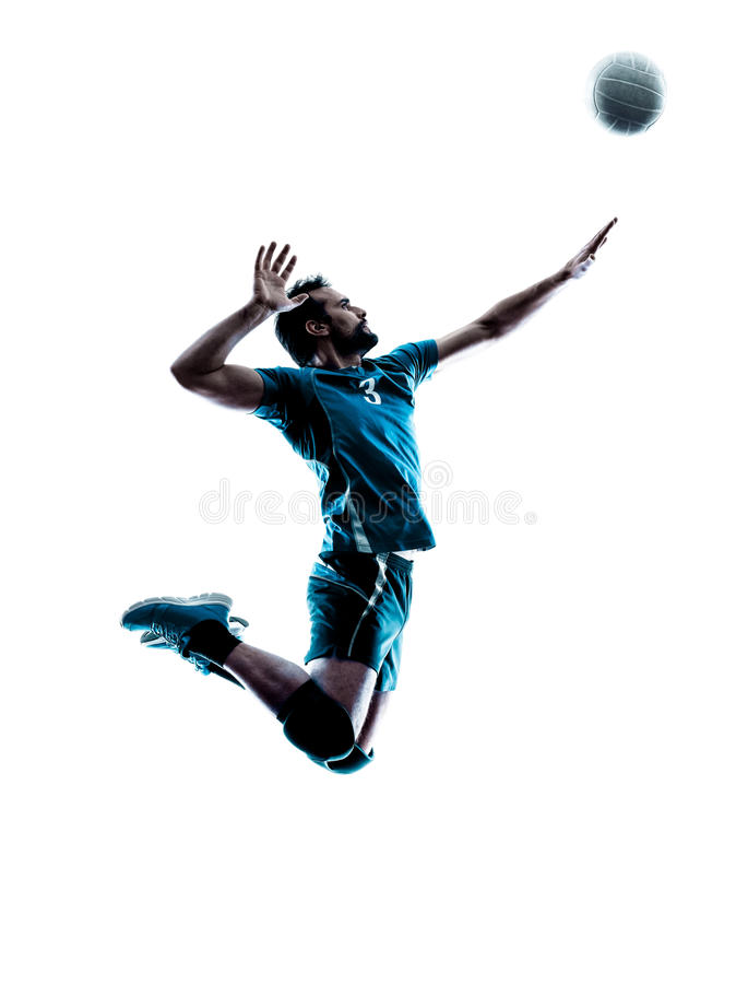 Man volleyball jumping silhouette. One caucasian man volleyball jumping in studio silhouette isolated on white background in studio silhouette isolated on white stock photo