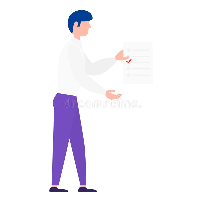 Man vote paper take icon, flat style. Man vote paper take icon. Flat illustration of man vote paper take vector icon for web design royalty free illustration