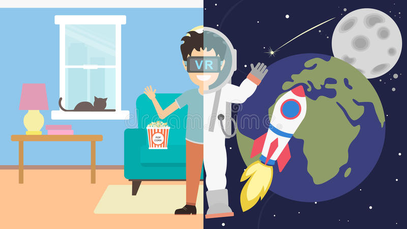 Man in vr in cosmos. vector illustration