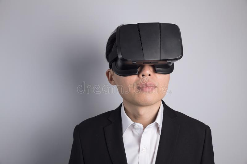 Man with VR glasses stock photos