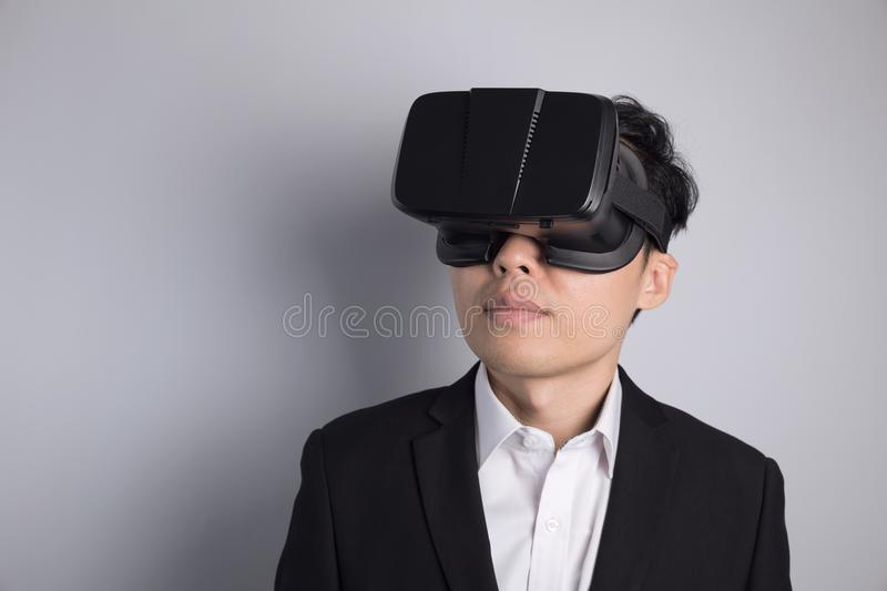 Man with VR glasses royalty free stock photos