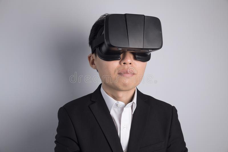 Man with VR glasses royalty free stock photography