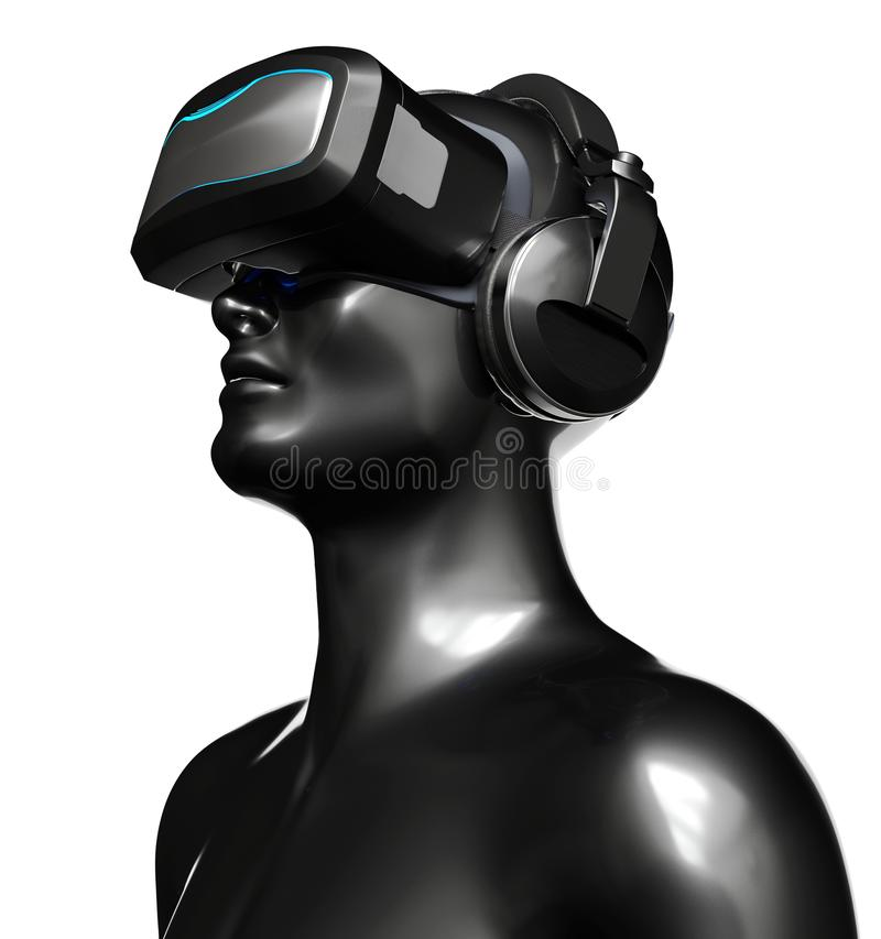 Man in VR Goggles with Headphones stock illustration