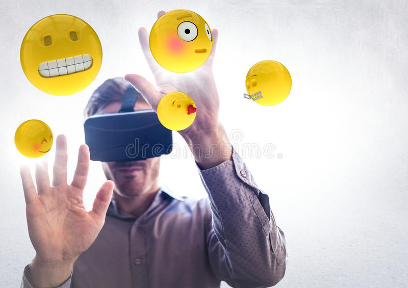 Man in VR with hands up touching flares and emojis against white wall stock illustration