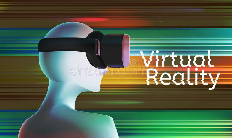 Man in vr headset. Abstract virtual reality concept with text and colorful background. Vector illustration. Virtual reality world and simulation royalty free illustration