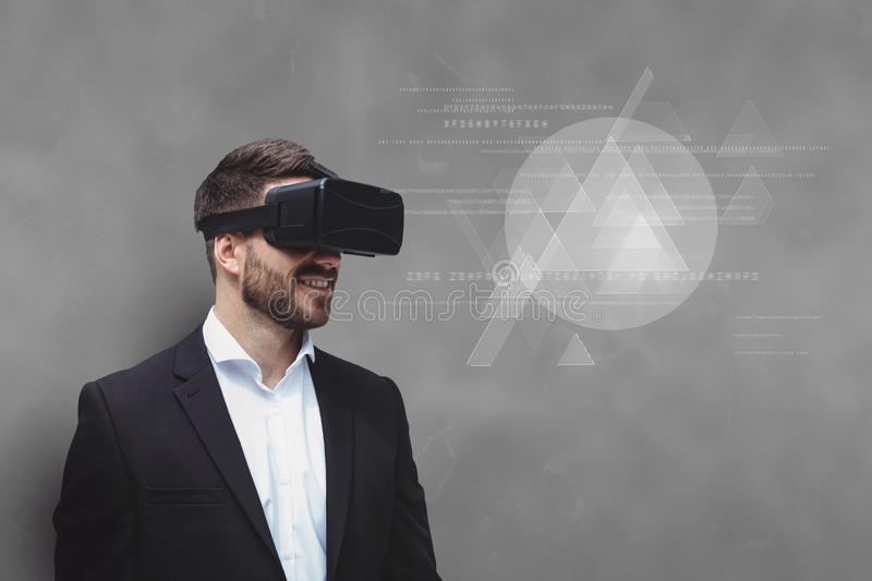 Man in VR headset looking at interface against grey background vector illustration