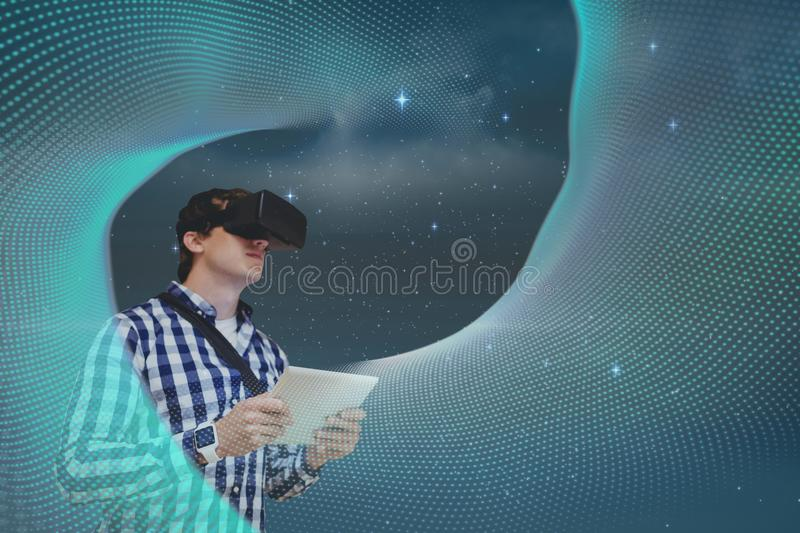 Man in VR headset looking at lights against sky background royalty free illustration