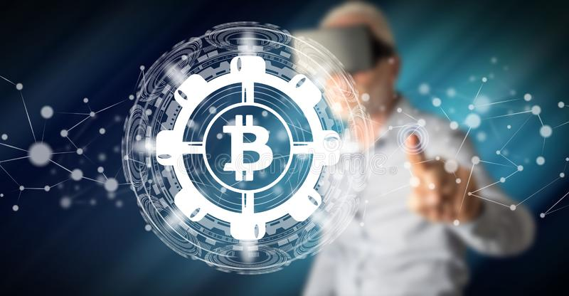 Man touching a bitcoin concept royalty free stock photos