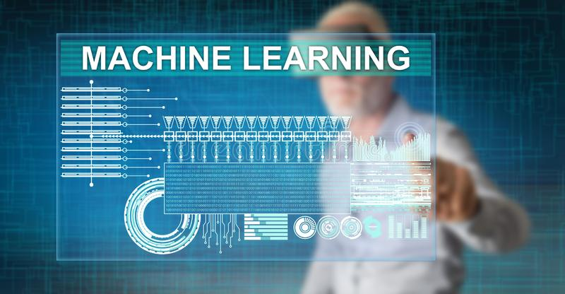 Man touching a machine learning concept royalty free illustration