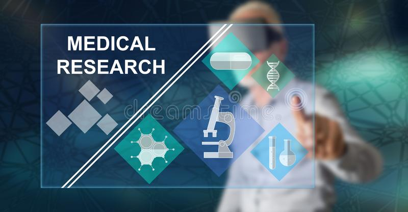 Man touching a medical research concept royalty free stock images