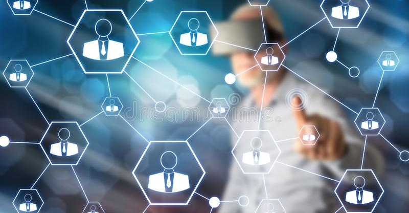 Man touching a social network stock illustration