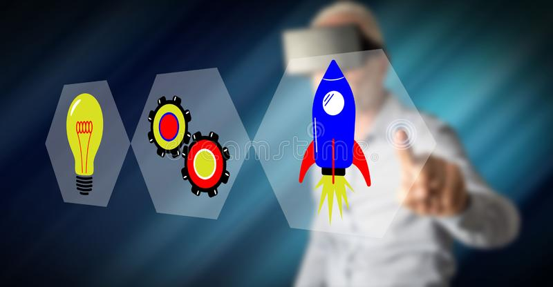 Man touching a start up concept stock image