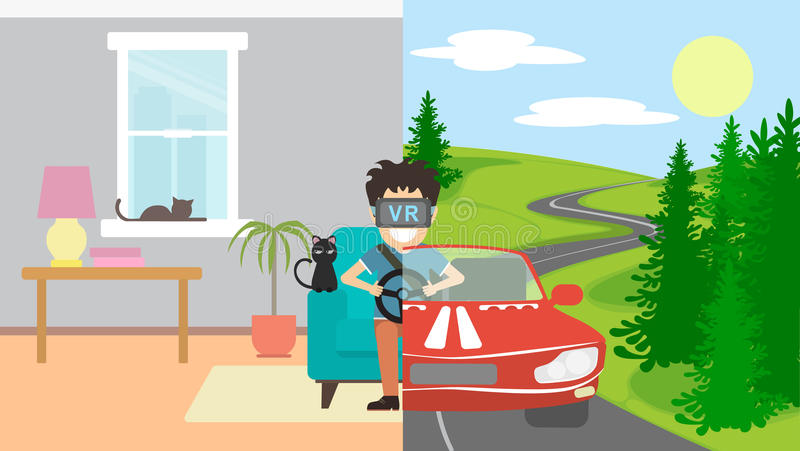 Man in vr playing in race. stock illustration