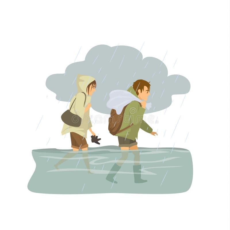 Man vrouw die in floodwaters lopen, die van vloed ontsnappen stock illustratie