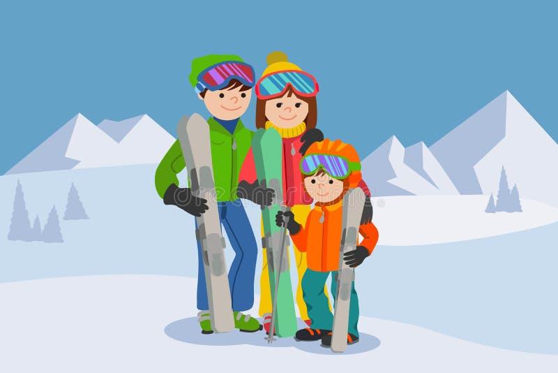Man, vrouw die, jongen, in sneeuwberg ski?en De sport vectorillustratie van de familiewinter royalty-vrije illustratie