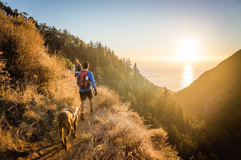Man, vrouw, en hond die bij zonsondergang wandelen royalty-vrije stock afbeelding