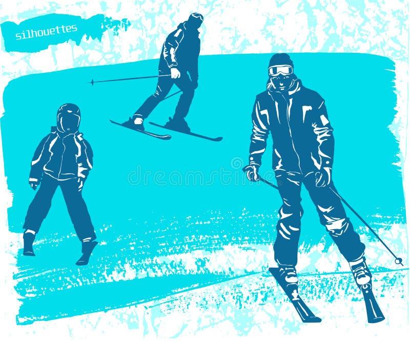 Man, vrouwen en jongens Geplaatste skiërssilhouetten stock illustratie