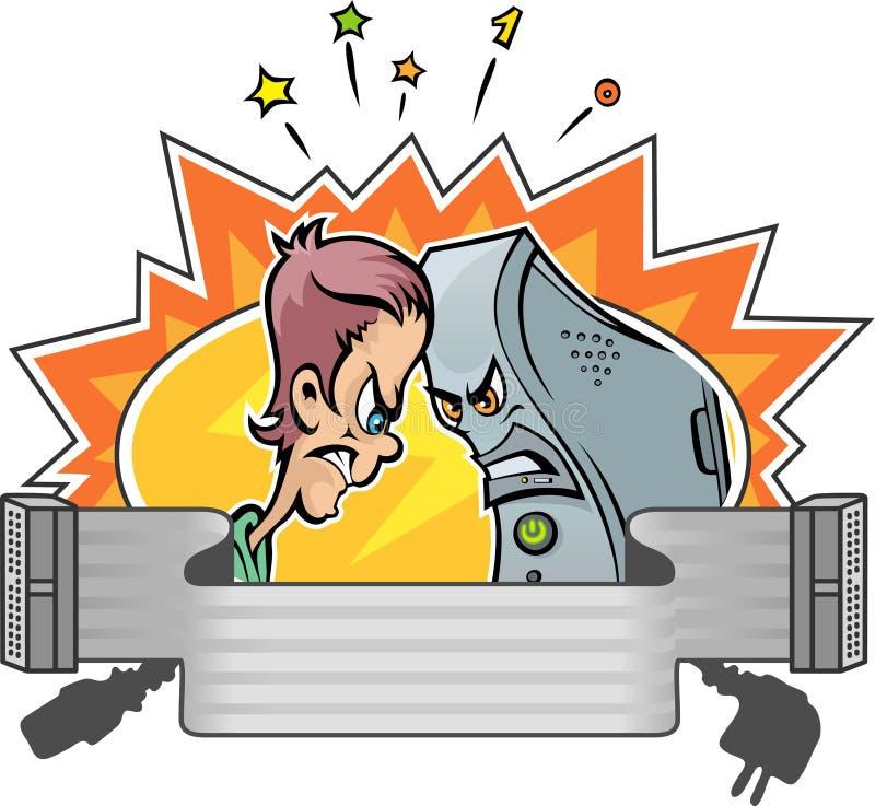 Man vs Computer vector illustration