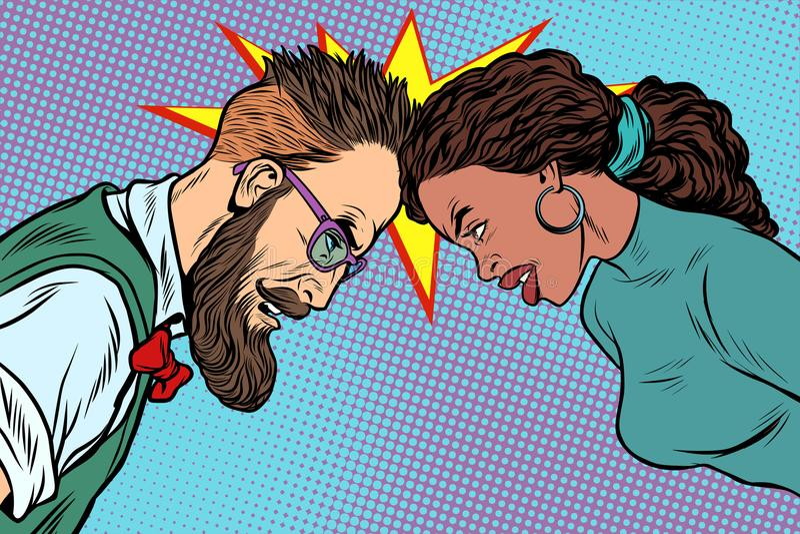 Man vs kvinna, konfrontation och konkurrens royaltyfri illustrationer
