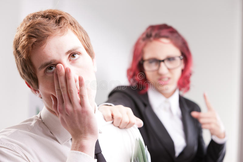 Man VS woman annoyances on workplace. Bias gender annoyances at work in the office stock image