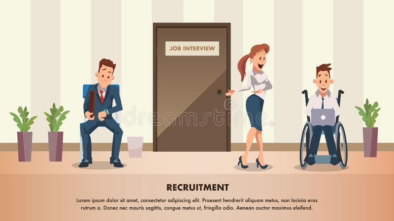 Man Wait Job Interview at Door. Disabled Employee. Character in Suit Sit on Chair. Woman Ask Wheelchair Worker to Office. Worried Candidate with Breifcase Look vector illustration