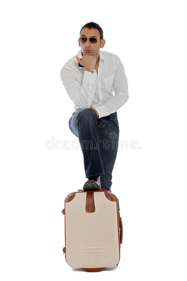 Man waiting for his ride stock images