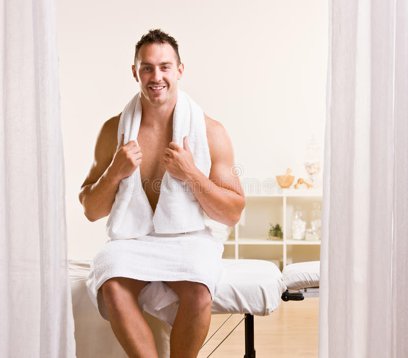 Man Waiting For Massage Stock Images
