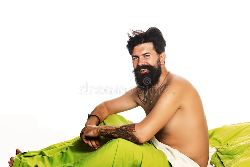 Man wake up in bed at home. Need some rest. Man wake up in bed at home. Need some rest stock photo