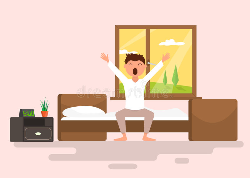 Man wakes up early in the morning. Flat vector illustration royalty free illustration
