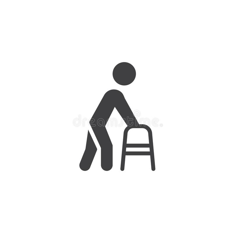 Man with walker vector icon vector illustration