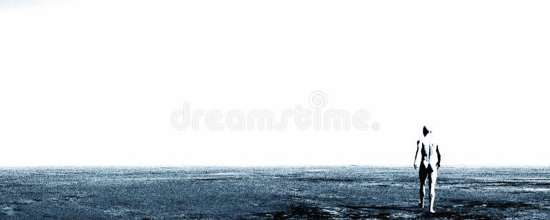 Desolation walk. Man walking alone across a desolate landscape stock illustration