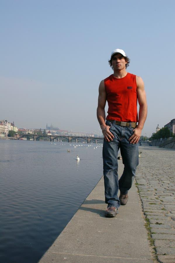 Man Walking Along the Embankment stock image