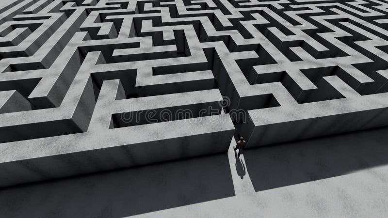 Man walking into big labyrinth vector illustration