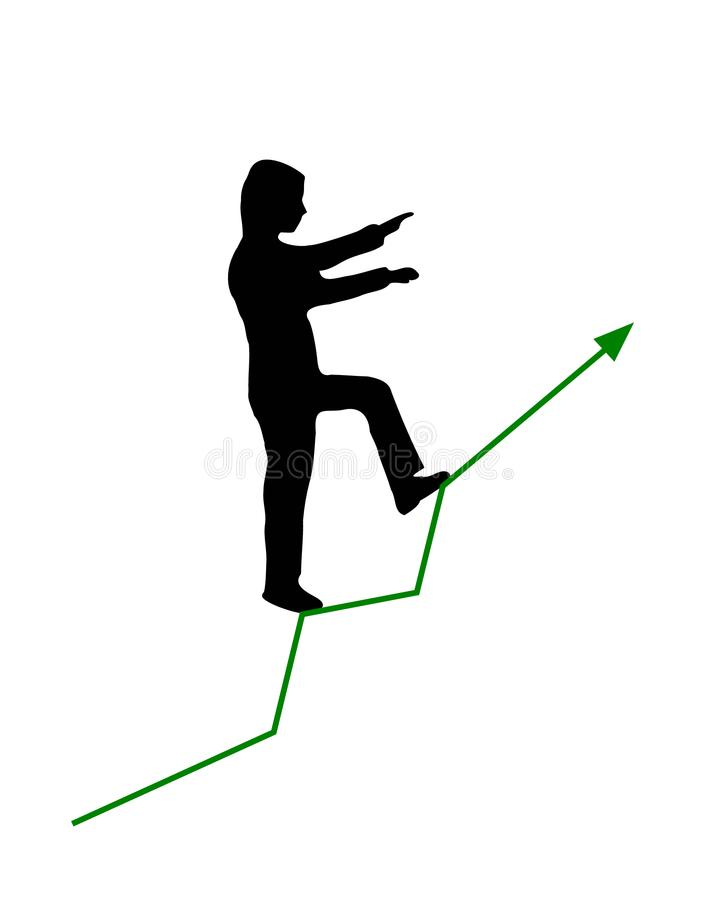 Man walking with both arms up front and one leg forward like climbing upstairs green graph arrow line growing up vector stock illustration