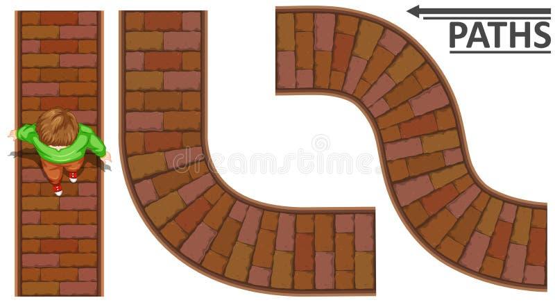 Man walking on brick path vector illustration