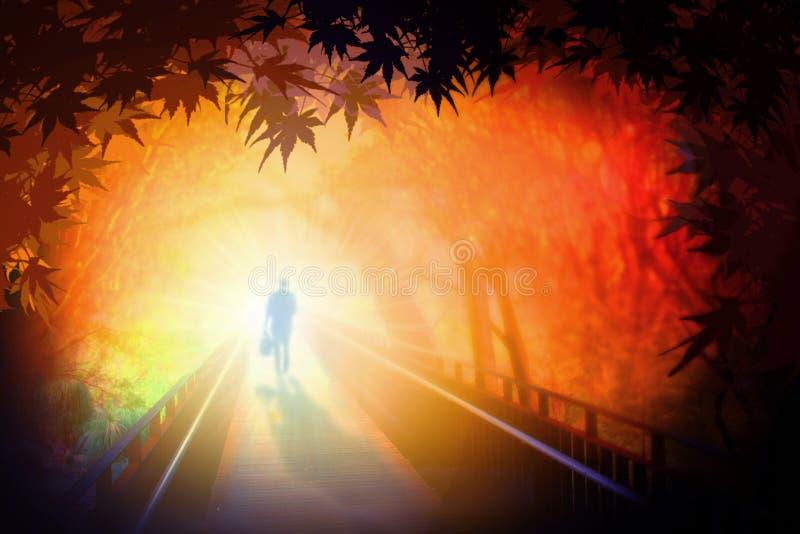 Man walking on bridge royalty free illustration