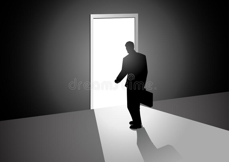 Man Walking Into A Bright Door royalty free illustration
