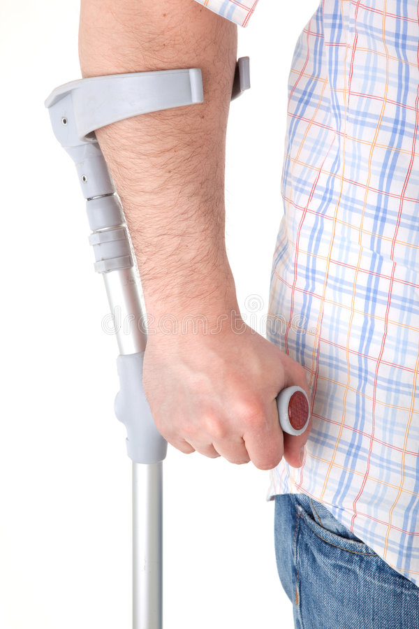 Download Man walking with a crutch stock image. Image of white - 9229629