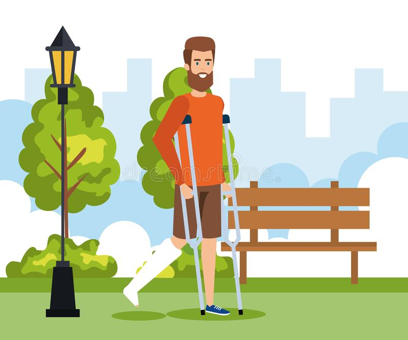 Man walking with crutches and leg fracture. Vector illustration vector illustration