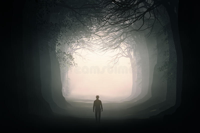 Man walking in a dark forest stock illustration